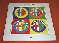 Alfa Romeo 1984 Spider Veloce Promotional Catalog