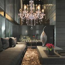 6 Arms Transparent Chandelier K9 Crystal Glass Ceiling Light Pendant Lamp E12