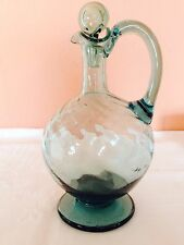 ANTIQUE/VINTAGE GREEN GLASS DECANTER/BIG CRUET WITH STOPPER. 8 1/2'' FROM ESTATE