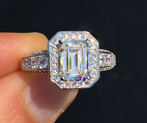 1.5 ct Emerald Halo Ring Top Russian Quality CZ Simulated Mossanite Imitation 7