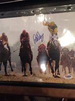 "Jockey Pat Day Signed PSA/DNA 8x10 color  photo ""off saddle"" Autographed HOF"