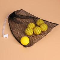 Black Nylon Mesh Net Bag Golf Tennis 40 Balls Carrying Drawstring Storage Pouch