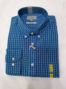 Mens Blue Checked Shirt. Long sleeves. Size L. Marks & Spencers