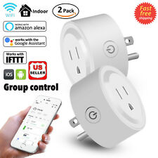 2Pcs Mini Smart Plug Outlet Wifi Socket Timer Work With Amazon Alexa Google Home