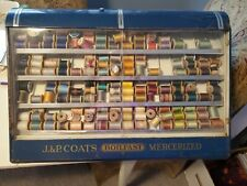Vintage J. & P. COATS ~ STORE SPOOL CABINET ~ BOILFAST - MERCERIZED ~ METAL