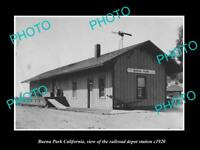 OLD LARGE HISTORIC PHOTO OF BUENA PARK CALIFORNIA, THE RAILROAD DEPOT c1920
