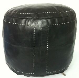 Moroccan Handcrafted 100% Leather Black / Brown / Dark Tan Pouffe UNSTUFFED