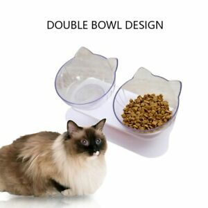 Double Cat Bowl Pet Bowls Stand Dog Elevated Feeder Food Water Raised Lifted Set