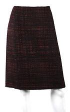 PRADA $730 NWT Fall 2011 Maroon & Black Shetland Tweed A-Line Skirt 46