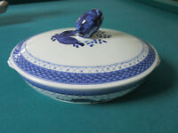 "ROYAL COPENHAGEN COVERED OVAL BOWL BLUE FLOWERS-BRAIDED 7 X 12"" BLUE"