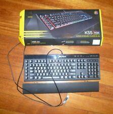 Corsair K55 RGB Gaming Keyboard Quiet LED Backlit Keys 843591089135 Wired