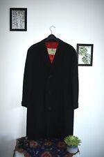 Vintage Aquascutum Trench Coat Black Medium Red Silk Lining Overcoat
