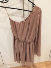 LOVE LABEL Nude One Shoulder Short Chiffon Dress M Uk 8 10 12 *worn Once*