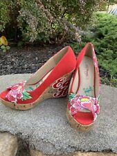 Ed Hardy Wedge Heels Shoes Size 8M Boho  Retro Dress Floral Open Toe Platform