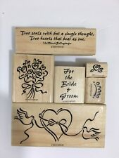 Stamping' Up! Rubber Stamp Set of 6 Heart & Soul Bride & Groom Bouquet 1998