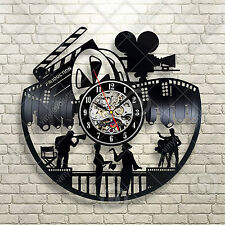Large Movie Night Home Theater Wall Decor Sign Reels Theater Cinema Vinyl Clock