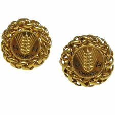 VINTAGE CHANEL WHEAT SHEAF CLIP EARRINGS 1.375 DIAMETER (MINT IN GIFT BOX)