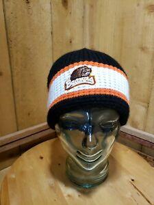 Oregon State University Beavers Winter Beanie Black White Orange Chunky Knit