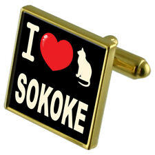 I Love My Cat Gold-Tone Cufflinks Sokoke