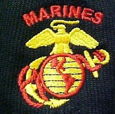 US Marine Corps Black Baseball Hat Embroidered Corded Cap Globe Anchor Eagle New