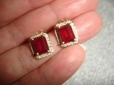 Estate Solid 14K Yellow Gold 5.0 CTW Ruby and Diamond Earrings