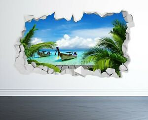 PARADISE BEACH WALL STICKER 3D LOOK - OCEAN SEA BEACH BEDROOM LOUNGE Z1025