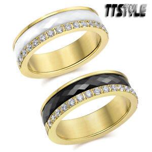 TTStyle 6mm 18K Gold GP Stainless Steel Ceramics Spin Band Ring NEW