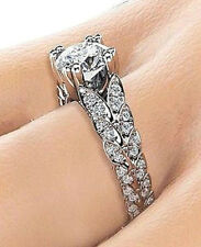 18K White Gold On Silver, Fiery 1.62 Carat Simulated Moissanite Ring Size 7