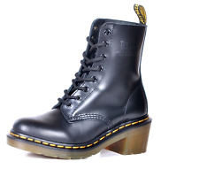 Dr Martens 8-Eye Heeled Clemency Black Red Smooth Leather Boots Women UK 3-6