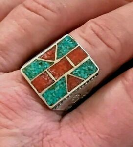 Stunning Navajo Sterling Silver Blue Turquoise Red Coral Mixed Stone Ring Sz 10