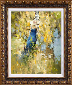 """Hand-painted Original Oil painting art knife girl Landscape On Canvas 20""""x24"""""""