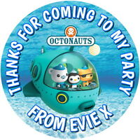 OCTONAUTS PERSONALISED GLOSS BIRTHDAY PARTY BAG FOOD BOX SWEET CONE STICKERS