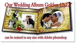 "Photoshop Wedding Digital Photo Book Templates PSD 12x12""  Golden"