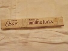 Vintage set of 6 Fondue Forks  Stainless Steel Wood Handles  Oster 7""