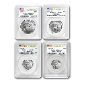 2007-W 4-Coin Burnished Platinum Eagle Set MS-70 PCGS (FS) - SKU#162486