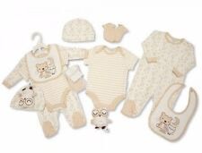 Baby Neutral Beige 6 Piece Clothing & Sleepy Owl Soft Toy Layette Gift Set
