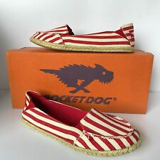 ROCKET DOG WOMENS  ESPADRILLES RED SUPERSTRIPE– SIZE 3 - BNIB £7.99
