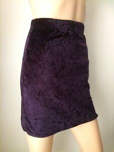 SOLUTIONS dark plum purple thin velvet all stretch body con mini Skirt Size 6/8