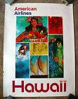Vintage Original 1970s HAWAII AMERICAN AIRLINES Travel Poster Train air railway