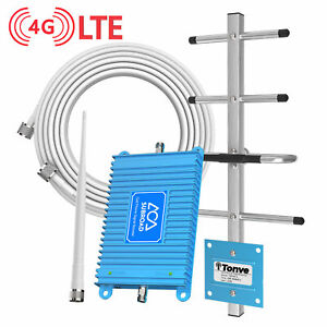 obdator Verizon 4G LTE Cell Phone Signal Booster High Gain FDD 700Mhz Band 13 Mobile Phone Booster Cellular Amplifier Main Repeater Indoor for Home and Office Black