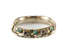 Sandor Goldberger Bangle Bracelet, gold tone with faux jade cabochons, w/ birds