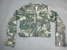 Textile Size M Womens Full Zop Army Print Multi-Color Stretch Bomber Jacket 258