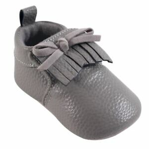 Hudson Baby Moccasin Booties, Gray