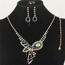 Blue Austrian Crystal Rhinestone Necklace Earrings Bracelet Ring Set Adjustable