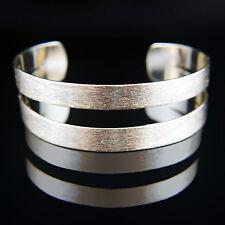 18k brushed Gold GF large solid bangle bracelet