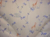 4Y Lee Jofa 2005161.5 Rydal Embroidery Blue Giraffe Elephant Upholstery Fabric