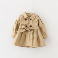 Girls Baby Trench Coat Button Belt Jacket Kids Windbreaker Long Sleeve Outerwear