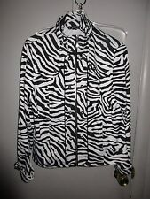 PL Lisa International Zebra Print Stretch Jacket Casual Womens