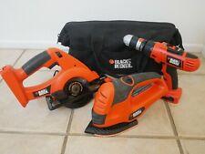 Black and Decker 18v Tool Set, Drill/Driver, Circular Saw, Sander and Tool Bag