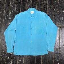Vintage Da Vinci California Mens Long Sleeve Button Down Shirt Light Blue Size S